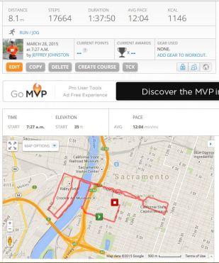MapMyRun 3-28-15, 8.1 Miles